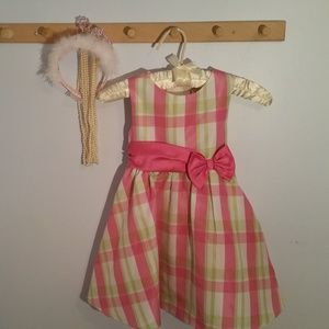 Rare Editions Size 4T Pink Green Plaid Dress
